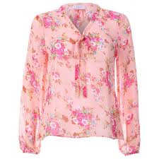 floral blouse womens pink floral bow neck blouse