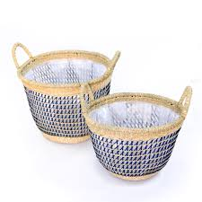 vietnam handwoven seagrass baskets with plastic lining wholesale