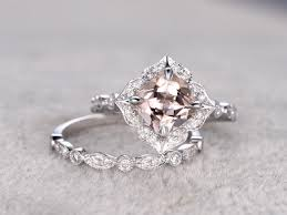 2pcs 8mm morganite bridal ring set art deco engagement ring white
