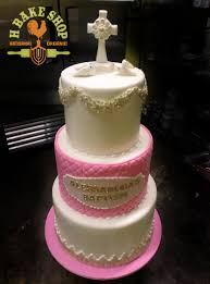 baptism cake in pink u0026 white with handmade sugar paste decorations