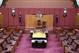 chambre du vide vue intérieure du sénat australien dans la chambre du parlement