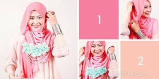 tutorial jilbab dua jilbab cara memakai jilbab segi empat dua warna romantis cara memakai