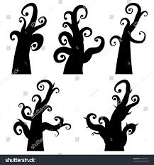 halloween background silhouettes black silhouettes creepy halloween trees on stock vector 512211181