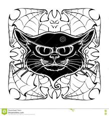 black cat head on circular bat wings ornament stock vector image