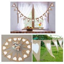 Bunting Flags Wedding 2018 13pcs Jute Fabric Bunting Banner White Heart Flags Vintage