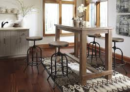 Dining Room Bar Stools by Rectangular Pine Veneer Dining Room Bar Table In Wire Brushed Gray