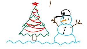 how to draw easy simple christmas tree and snowman using triangles