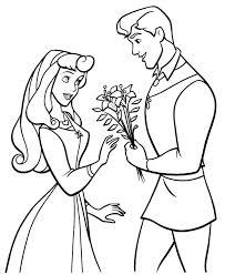 prince giving aurora flowers sleeping beauty coloring advice