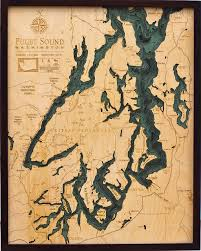 Nautical Maps Custom Wood Charts Of Puget Sound From Carved Lake Art Nautical