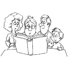 granny reading a story to a joint family coloring pages batch