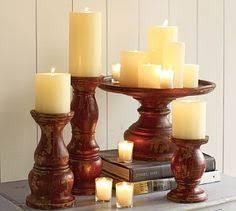 pottery barn amherst wood pillar candle holder large pillar