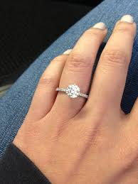 size 6 engagement ring up of allen pave 1 23 carats on size 6 finger