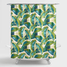 Hawaiian Print Shower Curtains by Aqua And Green Tropicale Leaf Shower Curtain World Market