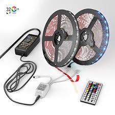 nexlux led light strip installation 32 8ft 10m 300 leds smd 5050 rgb light with 44 key remote controller