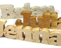 wooden name puzzle etsy