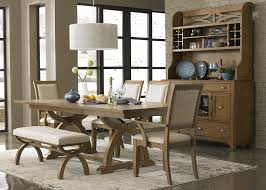 Oak Dining Room Table Sets 6 Piece Trestle Table Set With 4 Upholstered Chairs U0026 Dining Bench