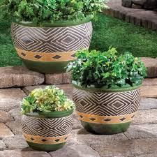 jade green garden ceramic trio 3 flower pots planters baskets