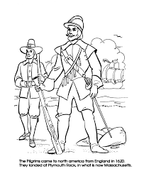 the thanksgiving coloring page sheets pilgrim leaders