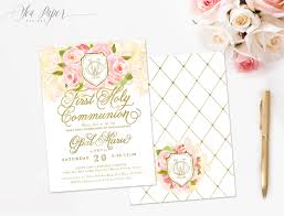 1st Holy Communion Invitation Cards Opal First Holy Communion Invitation Garden Pink Roses