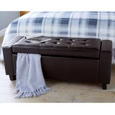 verona ottoman storage modern bench tufted foot stool faux leather