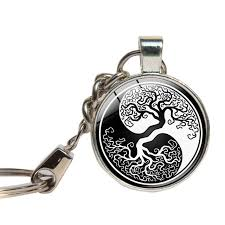 tree of keychain glass cabochon yin yang key ring glass dome