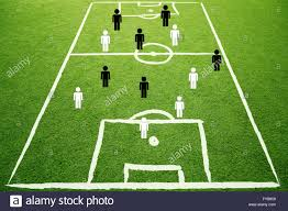 soccer game play strategy plan concept on sketch football field