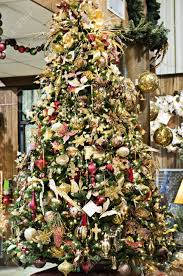 a tree decorated in and gold stock photo picture
