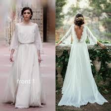 lace backless wedding dress sleeve lace boho backless wedding dress flosluna flosluna