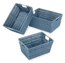 amazon com whitmor rattique storage baskets set of 3 black home