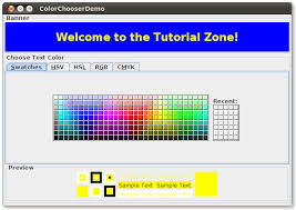 how to use color choosers the java tutorials u003e creating a gui