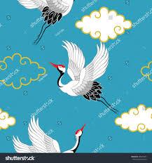 seamless pattern flying birds crane heron stock vector 685815841