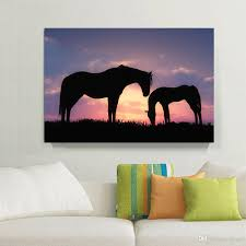 Painting Home by 2017 Romantic Sunset Landscape Black Horse Canvas Painting Home