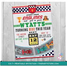 race car invitation printable personalized boys racing birthday