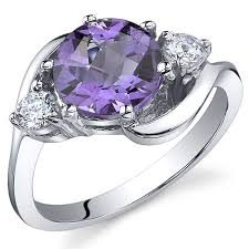 amazon com 3 stone design 1 75 carats amethyst ring in sterling
