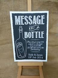 message in a bottle wedding personalised chalk style message in a bottle sign print guest book