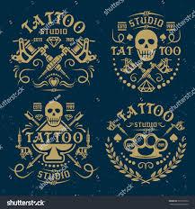 halloween salon background tattoo studio salon set vector vintage stock vector 373167070