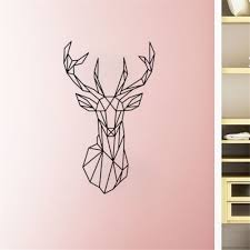 compare prices on wall sticker geometry online shopping buy low 3d vinyl wall art geometry animal series decals new design geometric deer head wall sticker custom