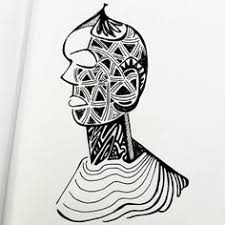 abstract rock face sketch by nat who pen on card original