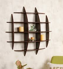 wall shelves pepperfry buy criss cross wall shelf in brown finish by dream arts online