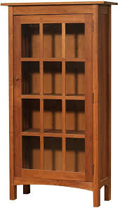 Cherry Bookcases With Glass Doors Modern Shaker Glass Door Bookcase In Cherry Wood With A