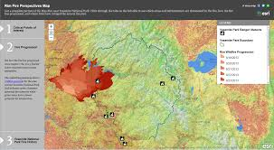 California Wildfires Map Yosemite Rim Fire Map And Visualization Ecowest Org