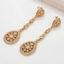 Long Chandelier Earrings Dangle Earrings Crystal Drop Earrings For Women Teadrop Design Cubic Zirconia