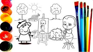 peppa pig baby boss painting for kids coloring pages for children