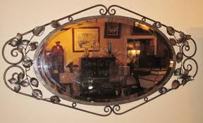 french art deco wrought iron fer forge wall mirror modernism