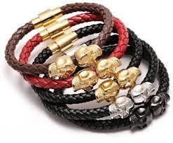 skull bracelet leather images Leather skull bracelets 4 colors apxstone jpg