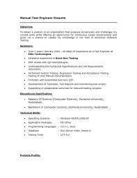 Qtp Resume Manual Testing Resume Format Qa Tester Video Game Resume Manual