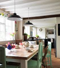 trendy eclectic kitchen ideas with wooden table and wooden chairs