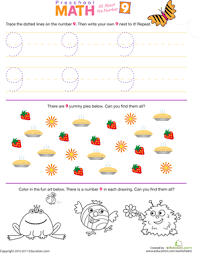 preschool math all about the number 9 worksheet education com