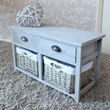 Wicker Storage Bench Vintage Grey Range Two Drawer With Wicker Baskets Storage Bench
