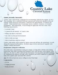 job opportunities country lake christian retreat